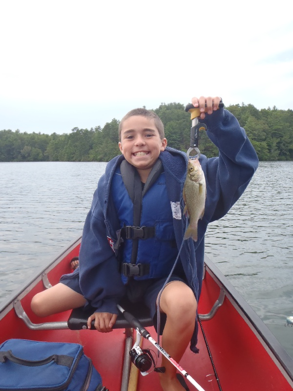 My son with his second of 2 White Perch