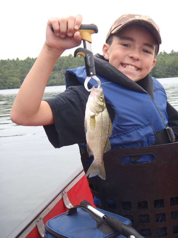 My son with his first of 2 White Perch