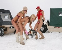 Those augers can be heavy...Bikini Ice Fishing Team
