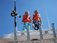 Evan & Austin jumping off the boat